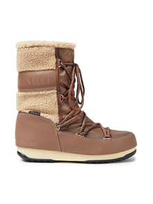 Woman Monaco Shearling-trimmed Shell Snow Boots Light Brown Size 37 Moon Boot. Купить за 6300 руб. - Snow boots Logo-print Shell Faux shearling Paneled Round toe Lace-up f...