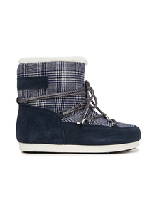 Woman Far Side Low Lace-up Checked Woven And Suede Snow Boots Navy Size 38 Moon Boot. Купить за 8300 руб. - Snow boots Prince of Wales checked Woven Suede Lace-up front Logo-appl...