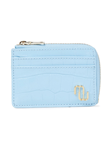Woman Croc-effect Leather Cardholder Light Blue Size -- Maje. Купить за 2850 руб. - Cardholder Croc-effect leather Gold hardware Designer plaque Zip faste...