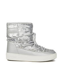Woman Sequined Woven And Metallic Faux Leather Snow Boots Silver Size 37 Moon Boot. Купить за 5350 руб. - Faux leather Snow boots Metallic Embossed Lace-up front Sequins Round ...