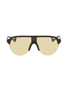 Black and Yellow Nagata Sunglasses District Vision. Купить за 12878 руб. - Shield-style acetate-frame sunglasses in matte black. Yellow anti-refl...
