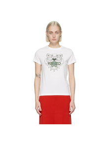 White and Green Classic Tiger T-Shirt Kenzo. Купить за 6313 руб. - Short sleeve cotton jersey T-shirt in white. Rib knit crewneck collar....