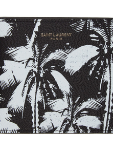 Saint Laurent Black And White Palm Tree East/west Wallet 28156428