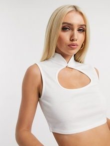 Missguided Belyy Krop-top S Vyrezom 27274152